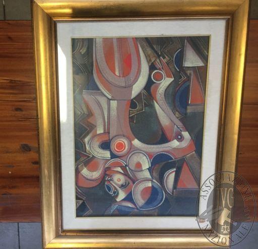 Dipinto con cornice e vetro intitolato GRANDE LABIRINTO, misure 76 x 96 cm