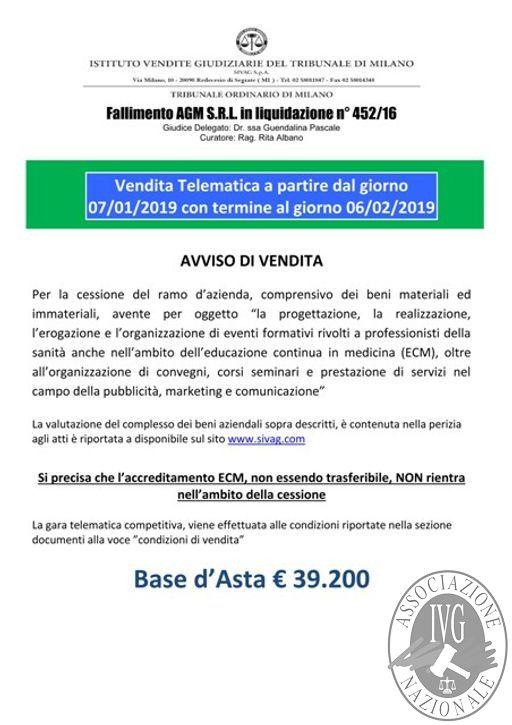 Fall. AGM Srl n. 452/16 – Cessione del ramo d'azienda, comprensivo dei beni materiali ed immateriali