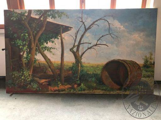 La barchessa della di Stiolo/impressione, 320x170cm, Olio su tela, anno 1981