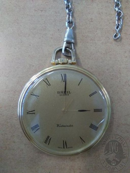 Orologio da taschino modello 'cipolla' con cassa dorata originale Breil al quarzo, con catena in metallo