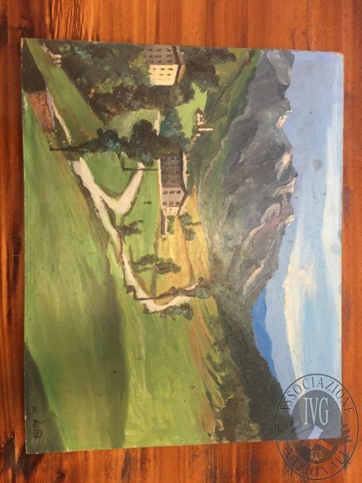 Dipinto a firma 'C. ACETO' intitolato PAESAGGIO MONTANO, misure: 50 x 40 cm