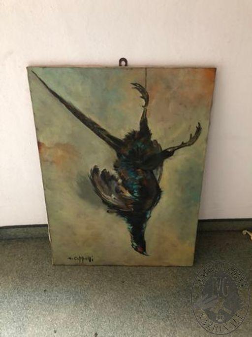 Fagiano nero, 80x60cm, Olio su tela
