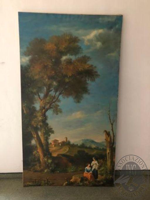 Paesaggio con donzelle e paesino, 200x110cm, Olio su tela