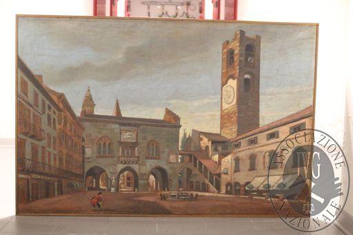 """RGE 3730/2017 Tribunale di Bergamo - Lotto 4: un dipinto di cm. 85×119 dell'artista Bonfanti raffigurante """"Piazza Vecchia Bergamo"""""""
