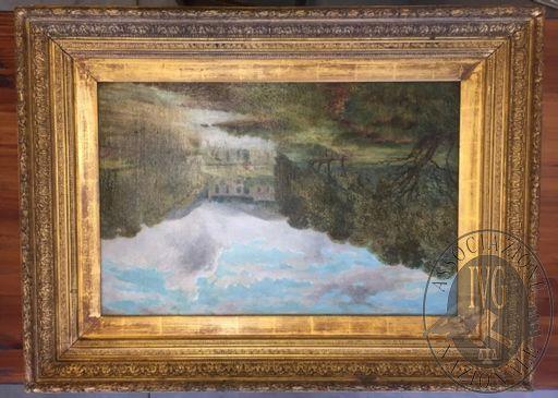 Dipinto con cornice intitolato PAESAGGIO BOSCHIVO, misure: 104 x 79 cm