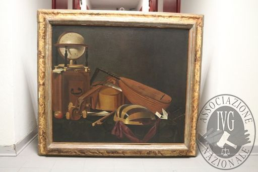 """RGE 3730/2017 Tribunale di Bergamo - Lotto 2: Un dipinto olio su tela, cm 83×96 del Pittore Evaristo Baschenis, raffigurante """"Strumenti Musicali"""""""