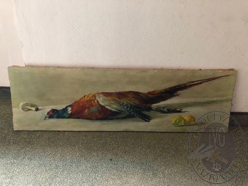 Fagiano e frutta, 120x30cm, Olio su tela